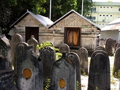 Ornate coral tombstones; Old Friday Mosque in Malé