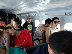 Packed like sardines on our Trans Maldivian flight