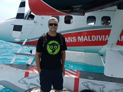 Robby beside our seaplane
