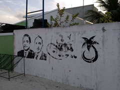 Old election graffiti; Dhiggaru Island