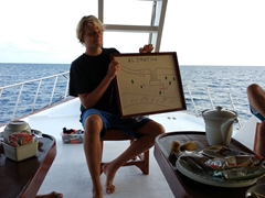 "Flo giving us the tawny nurse shark briefing at the world famous ""Alimatha Jetty"" dive site; Felidhe Atoll"