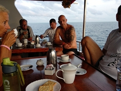 Sipping coffee and tea before our 6:30 am dive briefing; Felidhe Atoll