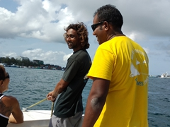 Nicole, Ali and Harish on the short ride to Hulhumale