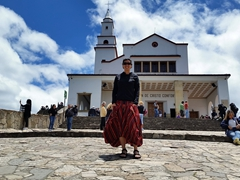 Becky in front of the 17th Century church built at the top of Monserrate Mountain