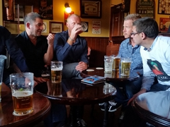 The boys drinking beer at The Pub