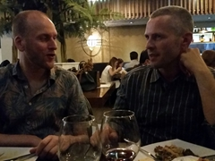 Mattie and Robby chatting it up; M Cocina Arabe