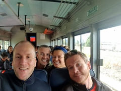 The four amigos on a train ride