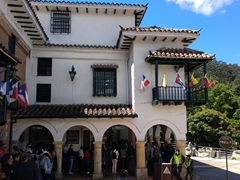 Waiting in line to buy tickets for the cable car up to Montserrat monastery