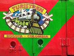 Riding the tourist train of Sabana, a steam train linking us from Bogota to the Salt Cathedral of Zipaquirá