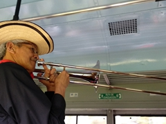 Playing the trumpet; train ride out to the salt mines