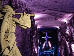 The main altar of the new cathedral of Zipaquirá Salt Mine
