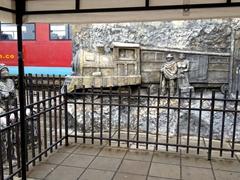 Steam train statue at Cajica train station