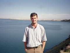 Robby in front of Euphrates Dam (also known as Tabqa Dam), which holds back Lake Assad, Syria's largest lake