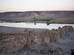 The ancient city of Halabiye was built in the 3rd Century by Queen Zenobia (queen of Palmyra). The fortress was protected by massive city walls such as this one leading down to the Euphrates
