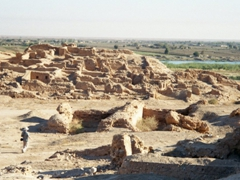 Dura Europos is a ruined walled city built on a cliff 90 meters above the Euphrates River