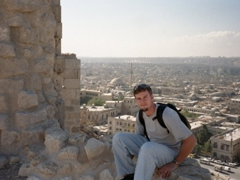 Robby admiring the vista of Aleppo from the citadel, considered one of the oldest and largest castles in the world