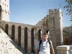 Robby below the entrance ramp leading up to Aleppo's citadel