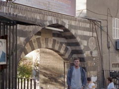 Robby at the entrance to the Hand Craft Market located in Tekieh Sulaimanieh, Damascus