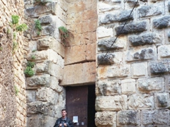 Robby beneath the entrance to the crusader castle at Salah Ed-Din, one of the very few castles not entrusted to the military orders of the Hospitaller or Templars