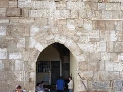 Entrance to Krak des Chevaliers. Notice the Arabic script etched into the bricks above the entrance