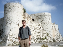 Robby in front of Krak des Chevaliers, quite possibly the best preserved Crusader Castle in the Middle East!