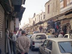 Busy Damascus street scene