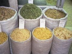 Pasta, grains, herbs and beans for sale; Al-Hamidiyah Souq