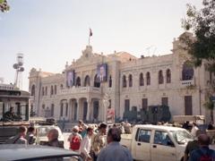 Busy street scene in front of the Al Hejaz railway station in Damascus