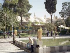 Fighter jets on display outside the Tekkiye Suleymaniye's arcaded cells, Damascus