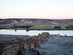 View of the Euphrates River at sunset, as seen from Halabiye Fortress