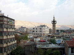 The rather drab Damascus city skyline (as seen from our hotel)
