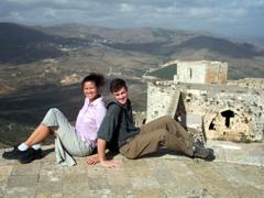 Striking a pose at Krak des Chevaliers, a UNESCO world heritage site