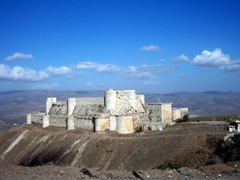 View of Krak Des Chevaliers, a crusader castle considered one of the premier medieval castles in the world