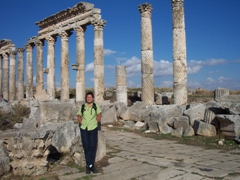 Becky strikes a pose in front of the colonnade of Apamea