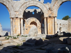 View of the famous pillar that St. Simeon supposedly sat atop for 36 years, Daret' Azze