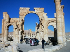 The ruins of Palmyra are a highlight of any visit to Syria. Here, our group stands beneath Palmyra's 1800 year old Arch of Triumph