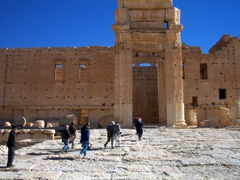 Entering the Temple of Bel (also known as Temple of Ba'al), one of the best preserved ruins in Palmyra