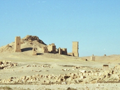 """Roman era funerary towers located in the """"Valley of the Tombs"""". They are multi-story sandstone monuments designed to accommodate hundreds of sarcophagi; Palmyra"""