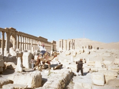 A member of our group succumbs to the pressure and rides off on a camel to explore Palmyra