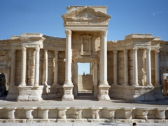 Frontal view of the Roman Theater's stage; Palmyra