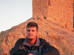 Robby enjoying the view overlooking Palmyra at Fakhr-al-Din al-Ma'ani Castle