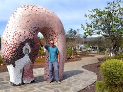 Robby and a flamingo; San Cristóbal Airport