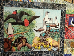 Galapagos scene made from colorful ceramics; Puerto Ayora