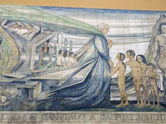 Famous socialistic mural that pays tribute to Gabriela Mistral; Santa Lucia