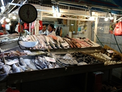 Fresh seafood for sale at the Central Market; Santiago