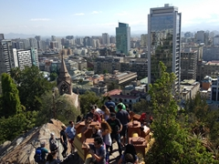 Climbing up Santa Lucia Hill for a view of downtown Santiago