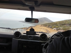 """Even though the """"neck"""" is only 16 KM from the settlement, it is a 1 hour bumpy ride in a land rover"""