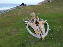 Whale bones on display at the neck; Saunders Island