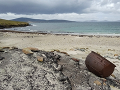 A try pot (used to remove blubber from whales and extract oil from penguins); Saunders Island
