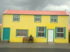 Brightly colored buildings are a common sight in cute Stanley
